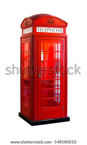 The red telephone cabin isolated on white background