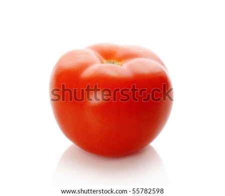 The red tomato isolated on white - stock photo
