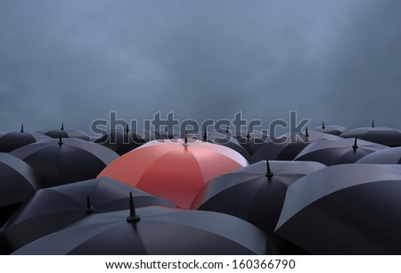The red umbrella - stock photo
