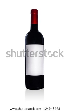 The red wine bottle  on a white background.