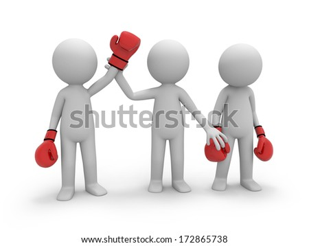 The referee has raised a hand of the winner - stock photo