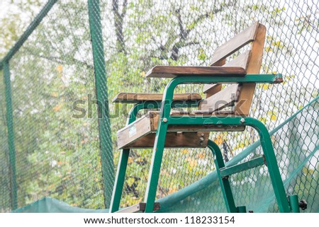 the referee seat in the tennis court - stock photo