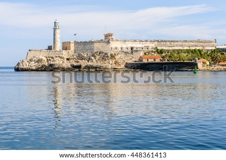 The reflection of Morro Castle in Havana, the capital of Cuba