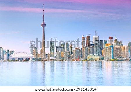 The reflection of Toronto skyline at dusk in Ontario, Canada