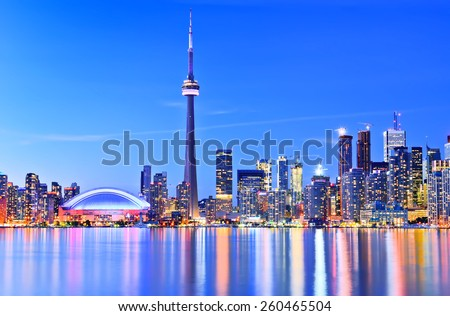 The Reflection of Toronto skyline in Ontario, Canada. - stock photo