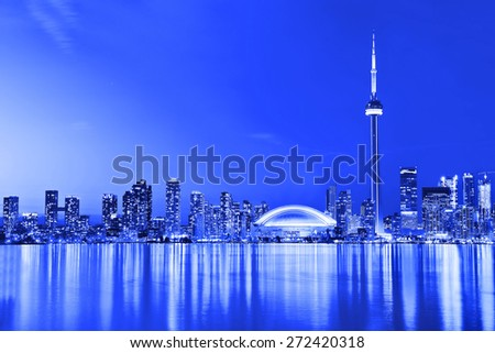 The Reflection of Toronto skyline in Ontario, Canada.