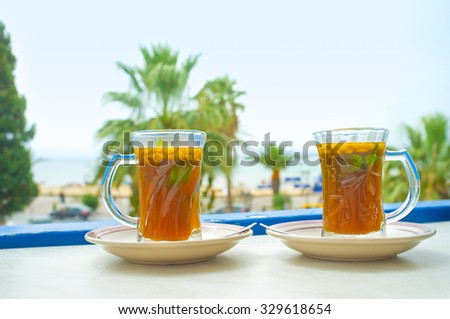 The refreshing arabic tea is the best choice to relax and enjoy vacation in Tunisia.