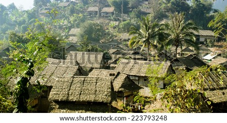 The Refugee House made from Wood,Bamboo and Leaf Roof at Refugee Camps in the North of Thailand. - stock photo