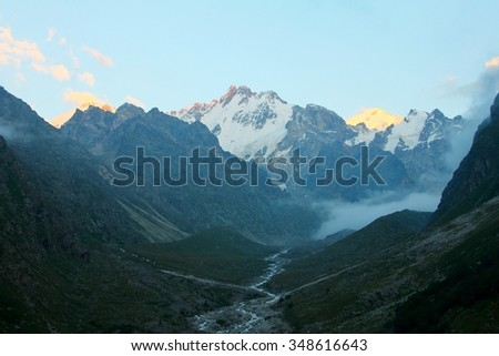 Mountain valley stock images royalty free images vectors the region in the caucasus mountains and the mountains have the highest snow tops sciox Gallery