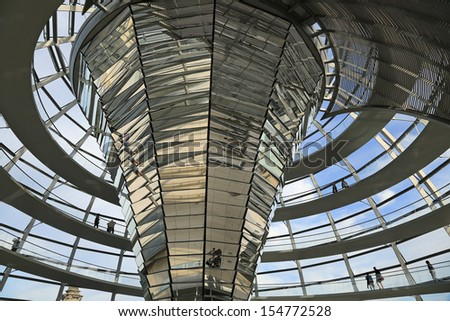 The Reichstag Dome in Berlin, Germany, the German Parliament - stock photo
