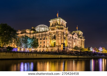 the Reichstag in Berlin at night, Germany - stock photo