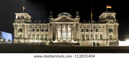 The Reichstag (Parliament) by night in Berlin, Germany - stock photo