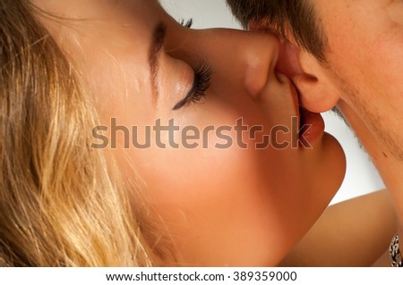 The relationship between the two lovers, A pair of passionate people. The love story of two young people. Man and woman embracing each other. The feeling of love between two people. Love story. - stock photo