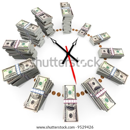 The relationship between time and money - stock photo