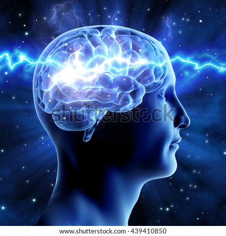 The relationship of man and the universe. Cosmic energy. Brain man on a blue background.