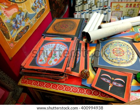 The religious pictures are displayed for sale in a shop in Kathmandu, Nepal