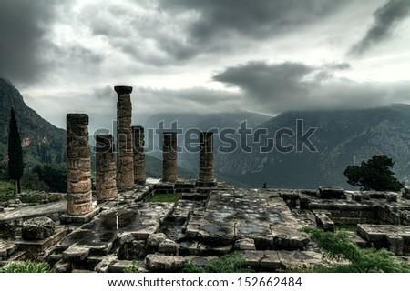The remaining columns of the Temple of Apollo,Delphi,Greece - stock photo