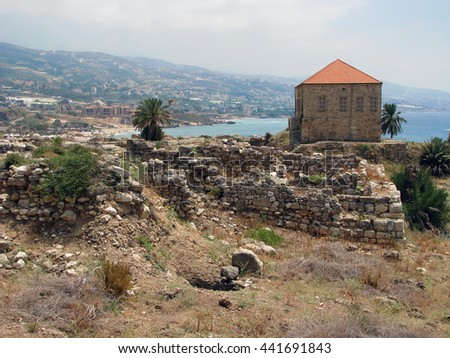 The remains of a traditional Lebanese house at the ancient and historical site of the Crusaders' castle in Byblos, Lebanon
