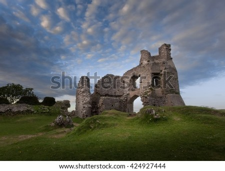 The remains of Pennard castle on the Gower peninsula, overlooking Three Cliffs Bay, Swansea.