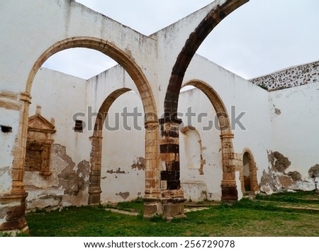 The remains of the former Franciscan monastery Conjvento de San Buenaventura in Betancuria on the Canary island Fuerteventura in Spain - stock photo