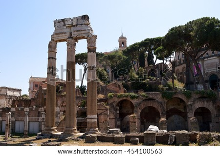 The remains of the Temple of Venus Genetrix in the Forum of Caesar (Forum Iulium), Rome, Italy