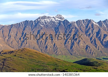 The Remarkables near Queenstown New Zealand - stock photo