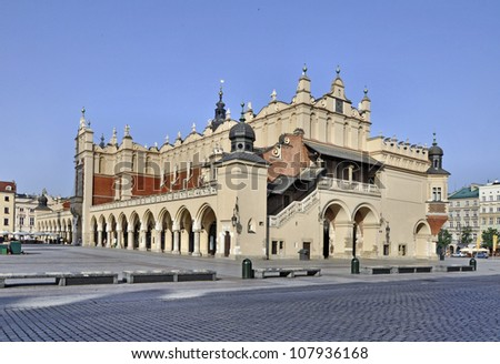The Renaissance Sukiennice (Cloth Hall, Drapers' Hall) on the Main Market Square in Krakow, Poland - stock photo
