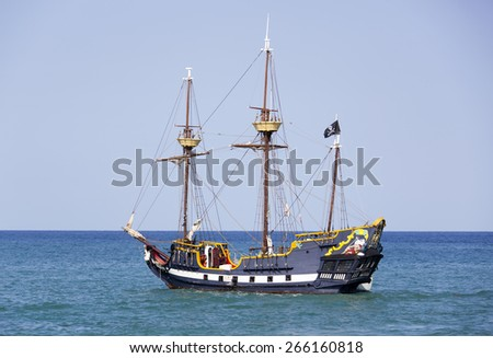 The replica of a pirate ship drifting near Cozumel island (Mexico). - stock photo
