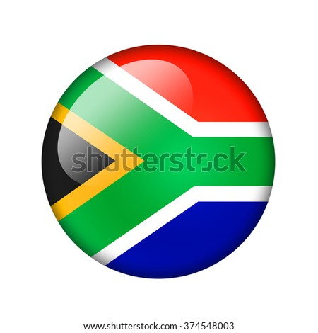 The Republic of South Africa flag. Round glossy icon. Isolated on white background.