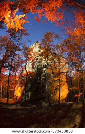"The reserve ""Dovbush Rocks"" near Bubnyshche - pagan temple, an ancient Christian monastery, fortification, worshiped gods on the background of beautiful wild Carpathian Ukraine"