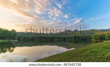 The Reservoir with reflection at Jedkod Pongkonsao Natural Study and Ecotourism Center, Saraburi, Thailand