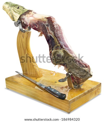 The rest of Dried Prosciutto, isolated on white background with Clipping Path - stock photo