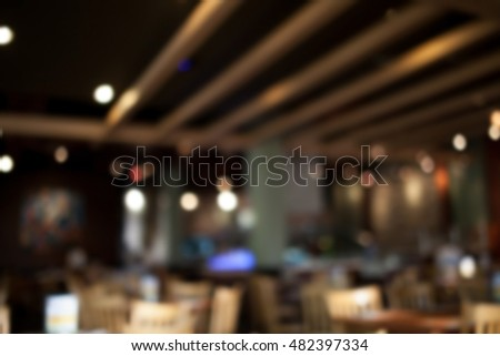 The restaurant blurred background