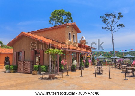 The restaurant has a colorful atmosphere.Thailand - stock photo