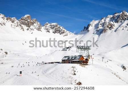 The restaurant in sunny day at mountain skiing region - stock photo