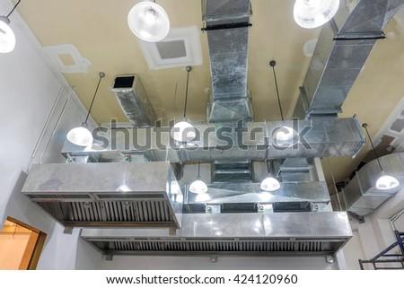 The restaurant ventilation system. - stock photo