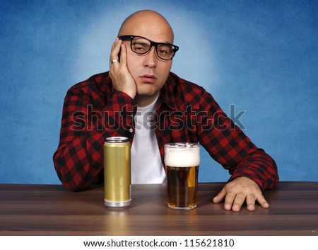 The result of drinking a lot of beer - stock photo