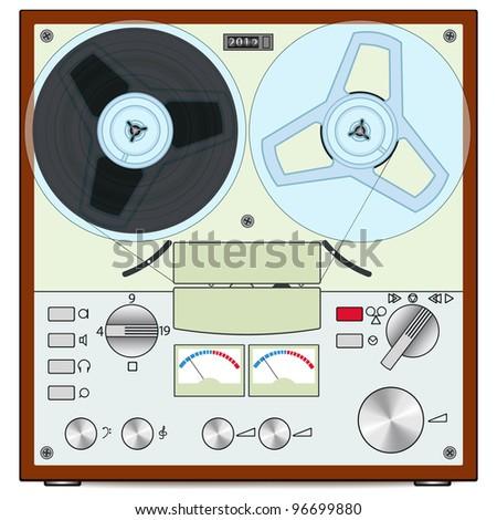 The retro audio tape recorder - stock photo