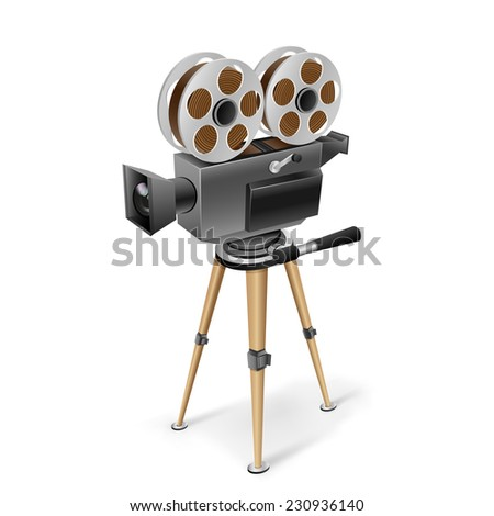 The retro cinema camera on a tripod on the white background - stock photo