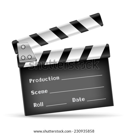 The retro clapper board on the white background - stock photo