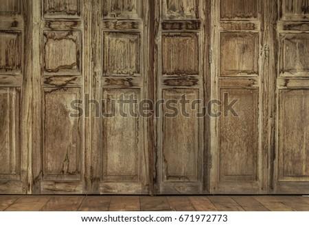 The retro style door. Thai style vintage wooden door not Wood stain. the door & Teak Wood Window Stock Images Royalty-Free Images \u0026 Vectors ... Pezcame.Com