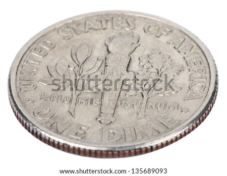 Reverse Side Usa 10 Cents Dime Stock Photo Royalty Free 135689093