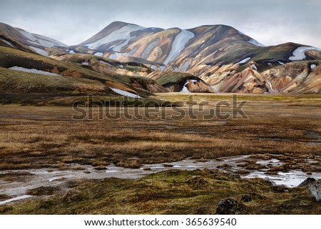 The rhyolite mountains of Landmannalaugar in Fjallabak national reserve, Iceland