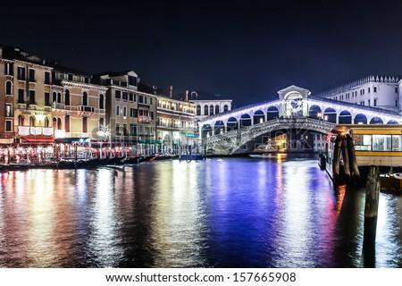 The Rialto bridge, Venice, Italy. Night. River. Grand canal - stock photo