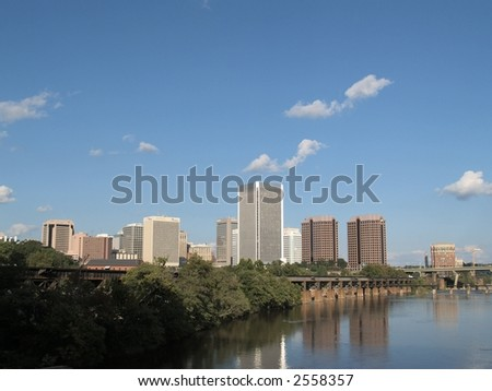The Richmond Skyline from the top of a bridge on James River to brown's isle.