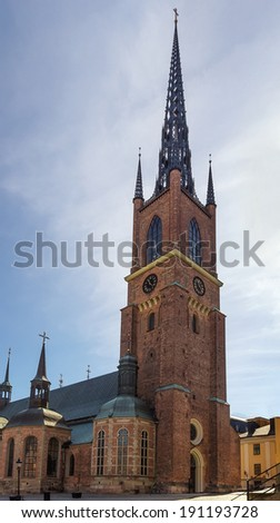 The Riddarholm Church is the burial church of the Swedish monarchs. It is located on the island of Riddarholmen, close to the Royal Palace in Stockholm, Sweden.