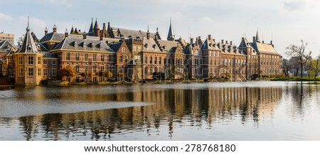 The Ridderzaal in Binnenhof with the Hofvijver lake. Meeting place of States General of the Netherlands, the Ministry of General Affairs and the office of the Prime Minister of Netherlands