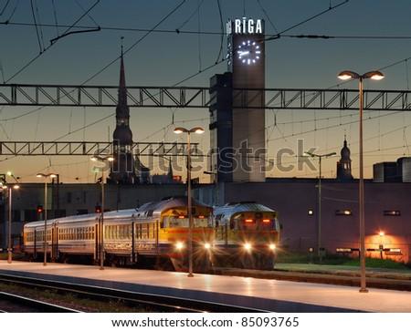 The Riga central railway station. Riga, Latvia. - stock photo