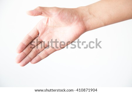 The right hand that open the palm of hand with white backgrounds