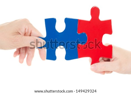 The right puzzle piece has been found - stock photo